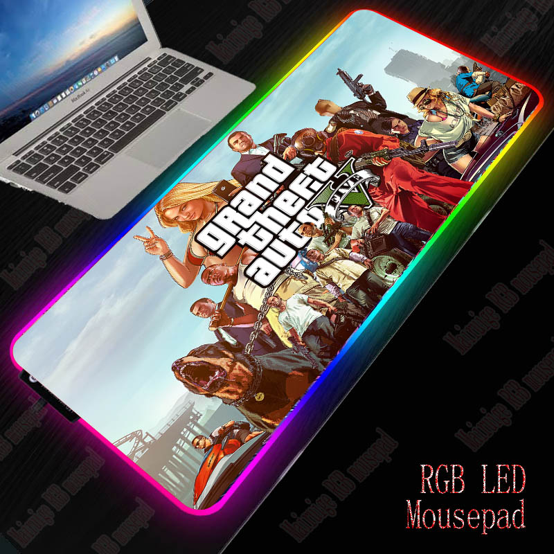 XGZ GTA Gaming RGB Mouse Pad Gamer Computer Mousepad RGB Backlit Mause Pad Large Mousepad XXL for Desk Keyboard LED Mice Mat