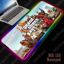 Игровой коврик для мыши XGZ GTA RGB, игровой компьютерный коврик для мыши RGB с подсветкой, большой коврик для мыши XXL для настольной клавиатуры, светодиодный коврик для мыши