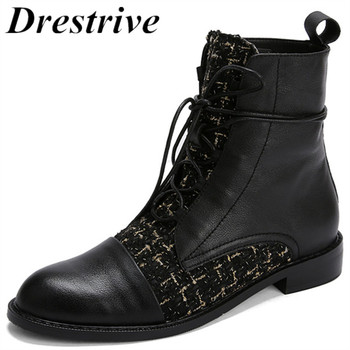 Drestrive 2019 Full Genuine Leather Low Heel 3 cm Lace Up Women Ankle Boots Cow Leather Patchwork Size 33-44 Winter Female