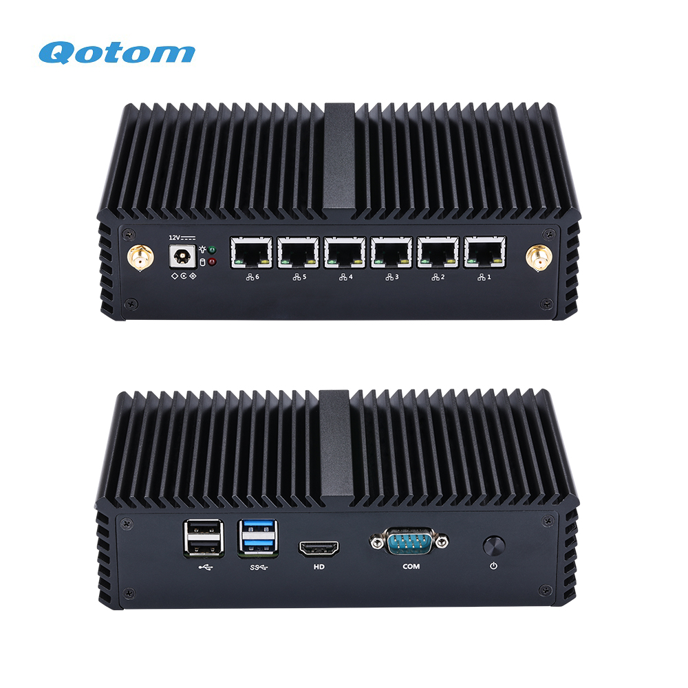 QOTOM 6 Gigabit Lan Mini PC With Core I5-7200U I3-7100U Processor Dual Core 2.4 GHz Kaby Lake Fanless Firewall Router