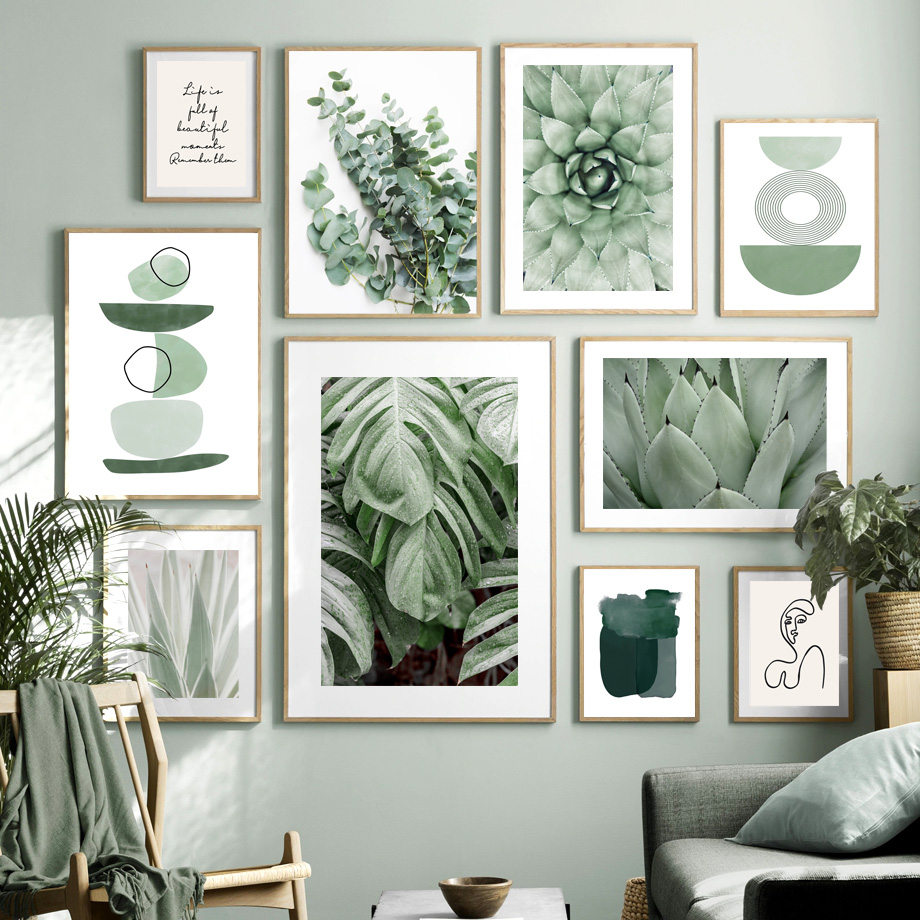 Green plant Agave cactus Line geometry Abstract Wall Art Print Canvas Painting Nordic Poster Wall Pictures For Living Room Decor