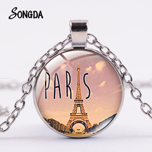 Necklace Handmade Paris Eiffel-Tower Jewelry Charm Memory-Statement Silver-Plated Building
