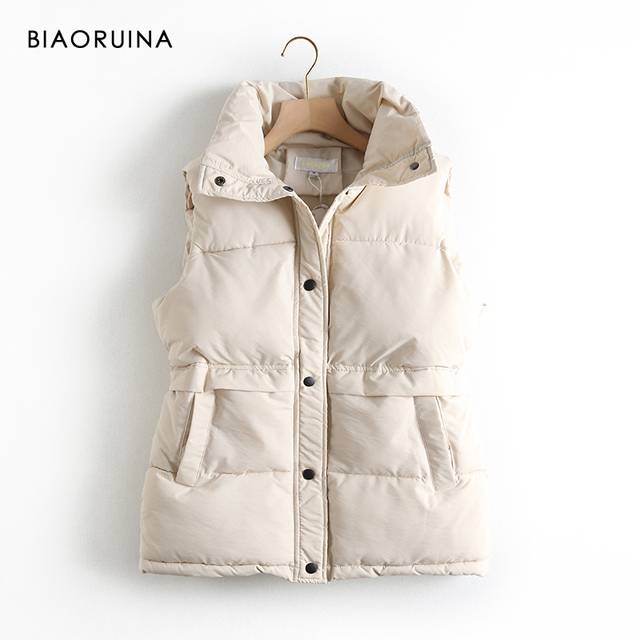 BIAORUINA Womens Korean Style Solid Sleeveless Winter Keep Warm Winter Vest Coat Single Women Breasted Loose Thick Fashion Vest