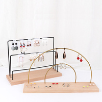 Fashion Assembleable Wooden Base Mental Copper product Jewelry Display Earrings Storage Jewellery Standing Arrangement