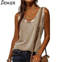 T-shirt sans manches col en V femme, ample, Vintage, à la mode, Streetwear, hauts, 2021