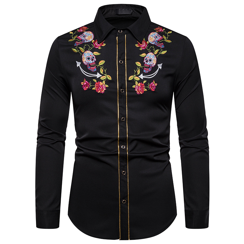 UNPADUPE 2019 Mens Fashion Western Cowboy Skull And Rose Embroidery Shirt Slim Fit Casual Long Sleeve Button Down Dress Shirts