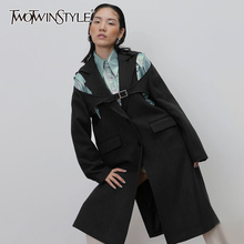 Woolen-Coats Slim-Jackets TWOTWINSTYLE Female Hollow-Out Fashion Women for Lapel-Collar
