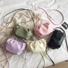 Women Handbag 2020 Spring New Fashion Small Messenger Bag Candy Soft Designer Brand Shoulder Crossbody Bag Fold Cloud Clutch Bag