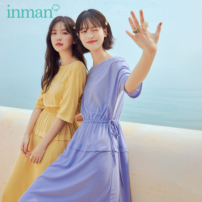 INMAN 2020 Summer New Arrival Loose Style Dress Artsy Lady Comfortable Material Drawstring Fitness Patchwork Long Dress