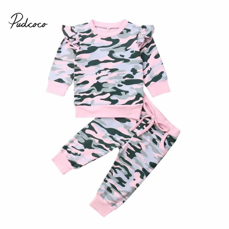 Pudcoco Peuter Baby Meisje Camo Kleding Set Baby Pasgeborenen Lange Mouw T-shirt Army Sweatshirts Top Broek Outfit Sets Trainingspak