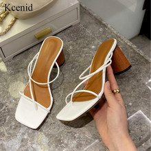Kcenid Summer slippers women high heel slides female square toe wood heel sandals vacation flip flops narrow band ladies shoes(China)