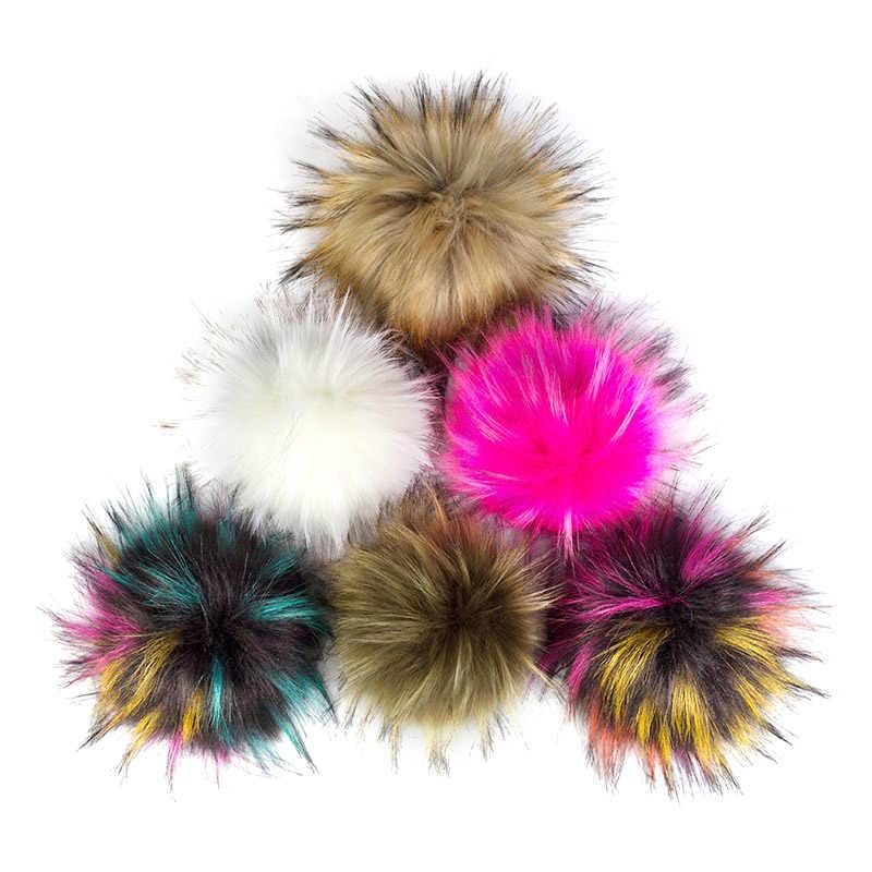 Geebro 15 cm artesanal diy hairball chapéu beanie bolas de pele do falso pom pom bola de lã com fivela sacos acessórios feminino inverno bonés