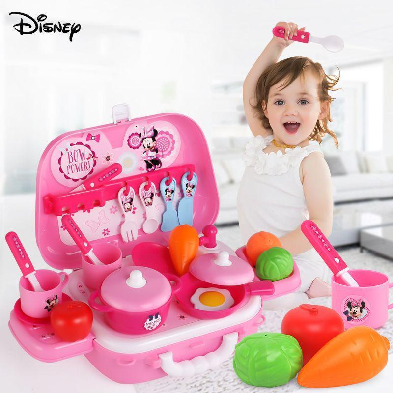 Disney Princess Frozen Mickey Minnie Simulation Cosmetics Girl Games Toy Kids Kitchen Miniature Food Cooking Utensils Tool Toys