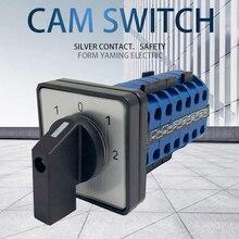 LW26 20/6 cam interruptor de montagem do painel energia diy rotativo comutação 5 posições 24 terminais parafusos prata contato personalizado ymw26