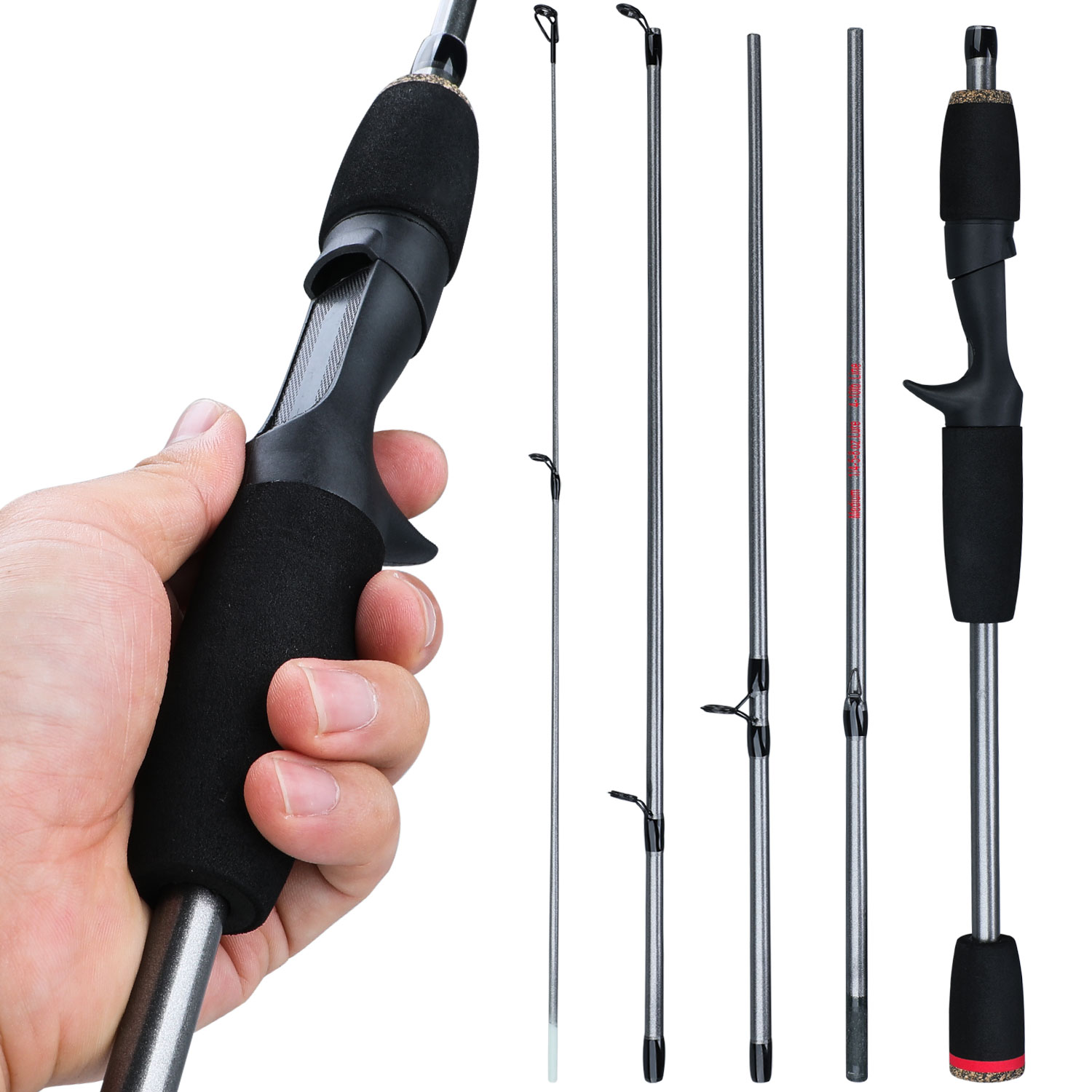 Sougayilang New 5 Section Portable Travel Fishing Rod Ultralight Weight Eva Handle Spinning/Casting Fishing Pole Fishing Tackle|Fishing Rods| |  - title=