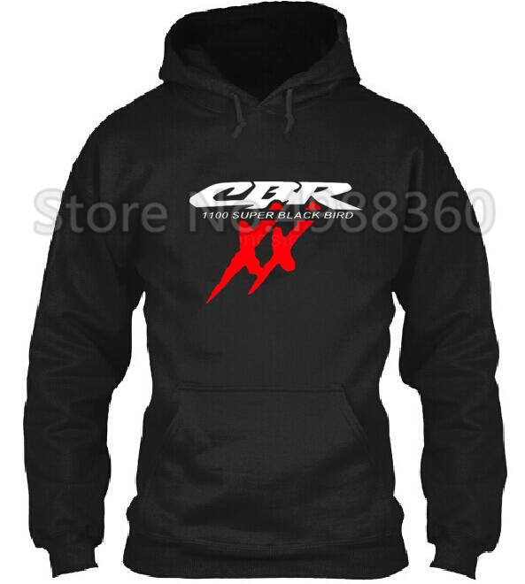 2019 Brand Winter TOP HONDA CBR 1100 SUPER BLACKBIRD XX T-S Motorcycles Black And White Hoodies Cotton Men Hoodies
