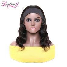 Бразильские волосы парик с головной повязкой Remy человеческих волос парики 150% плотность натуральный Цвет объемная волна парики для Для женщ...