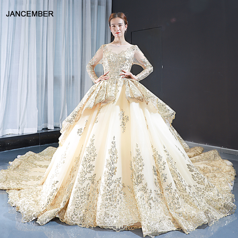 J66949  Jancember Long Evening Dresses With Sleeves O Neck Ball Gown Sequined Lace Long Dress платье женское вечернее с рукавом