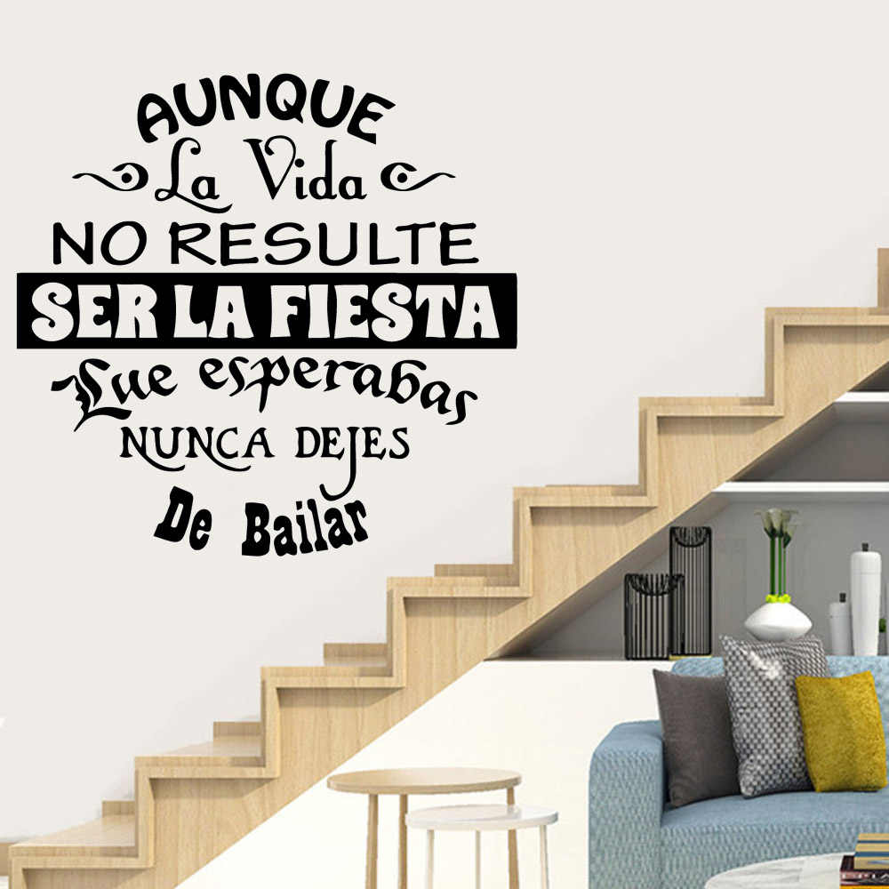 Новая испанская фраза предложения, современные модные настенные художественные наклейки для гостиной, виниловая настенная наклейка для домашнего декора, наклейки-цитаты на стену