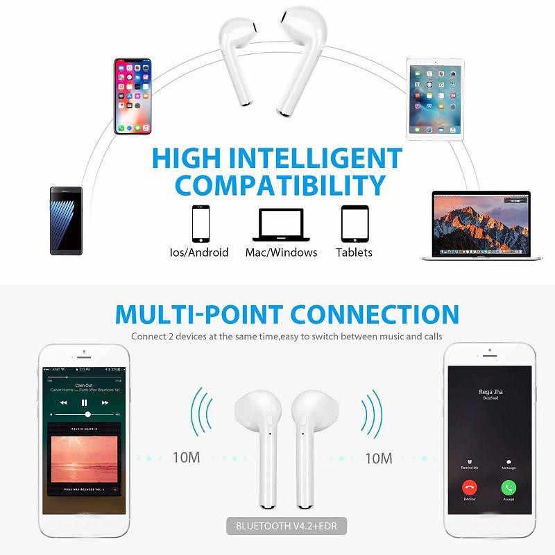 I7s TWS ワイヤレス 3D Bluetooth スポーツイヤホンヘッドセットサムスンのため銀河 S10 S10e S9 S8 プラス注 9 8 A10 A20 A30