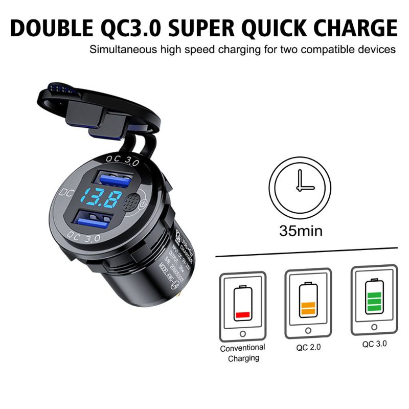 12V 24V Aluminum Waterproof Dual QC3.0 USB Fast Charger Power Outlet LED Voltmeter Switch Cable for Car Marine Truck SUV