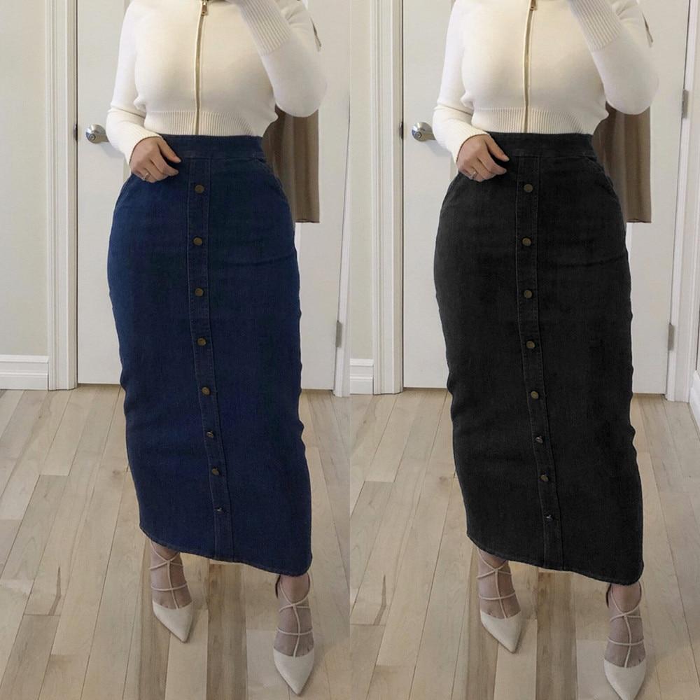 Faldas Mujer Moda 2019 High Waist Button Long Denim Skirt Women  Jeans Pencil Bodycon Maxi Skirts Jupe Longue Femme SpodnicaSkirts   -