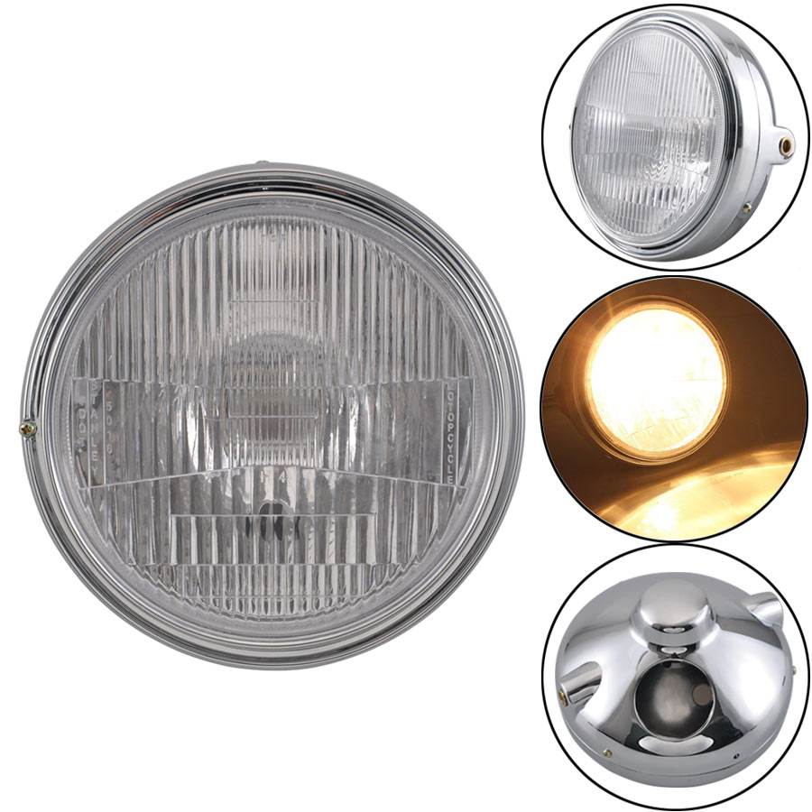 Motorcycle 35W Headlight Front Light Amber Cafe Racer Light For Honda CB400 CB500 CB1300 Hornet 250 600 900