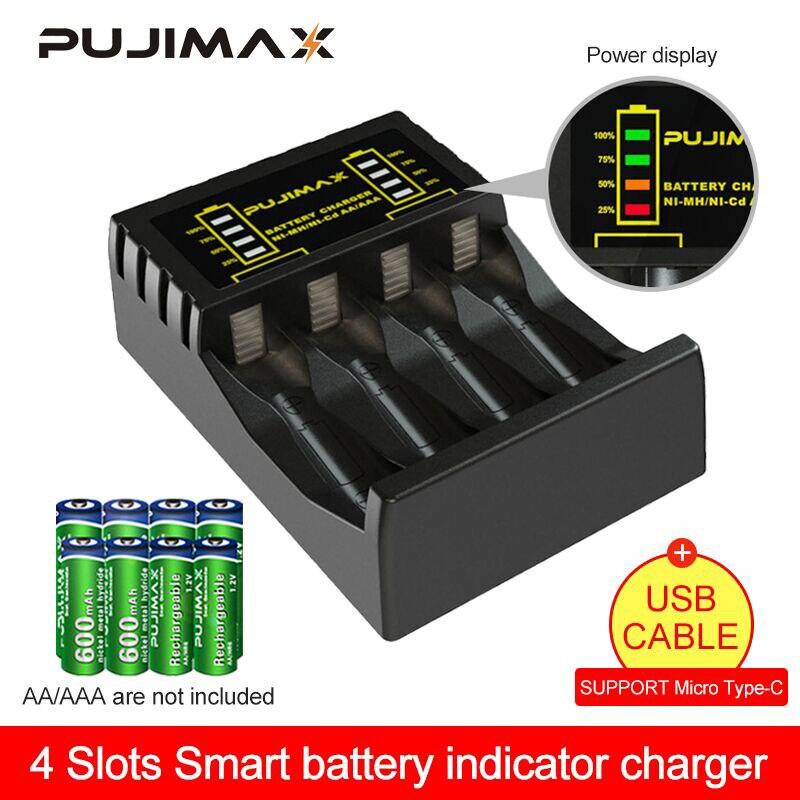 PUJIMAX 4 fentes chargeur de batterie électrique Intelligent rapide indicateur LED chargeur USB pour AA/AAA Ni-MH/ni-cd batterie Rechargeable