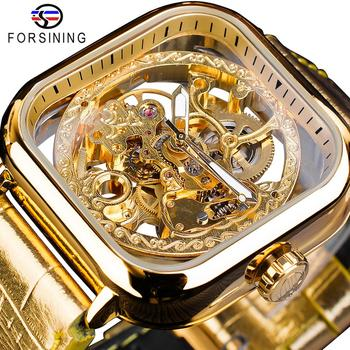 Forsining Fashion Gold Gear Movement Luminous Hands Leather Transparent Mens Automatic Mechanical Watches Top Brand Luxury
