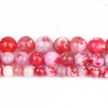 6/8/10mm Natural Red Ice Craked Agates Stone Beads Round Loose Beads for Diy Bracelet Accessories Jewellery Making 15/Strand image