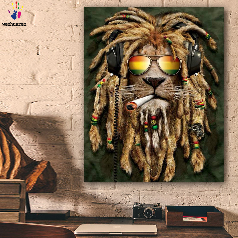 DIY Colorings Pictures By Numbers With Colors Handsome Lion Picture Drawing Painting By Numbers Framed Home