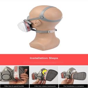 Image 4 - Demi visage respirateur masque à gaz charbon actif masque Anti poussière 6200 peinture pulvérisation soudage Anti Pollution sécurité travail Virus masque