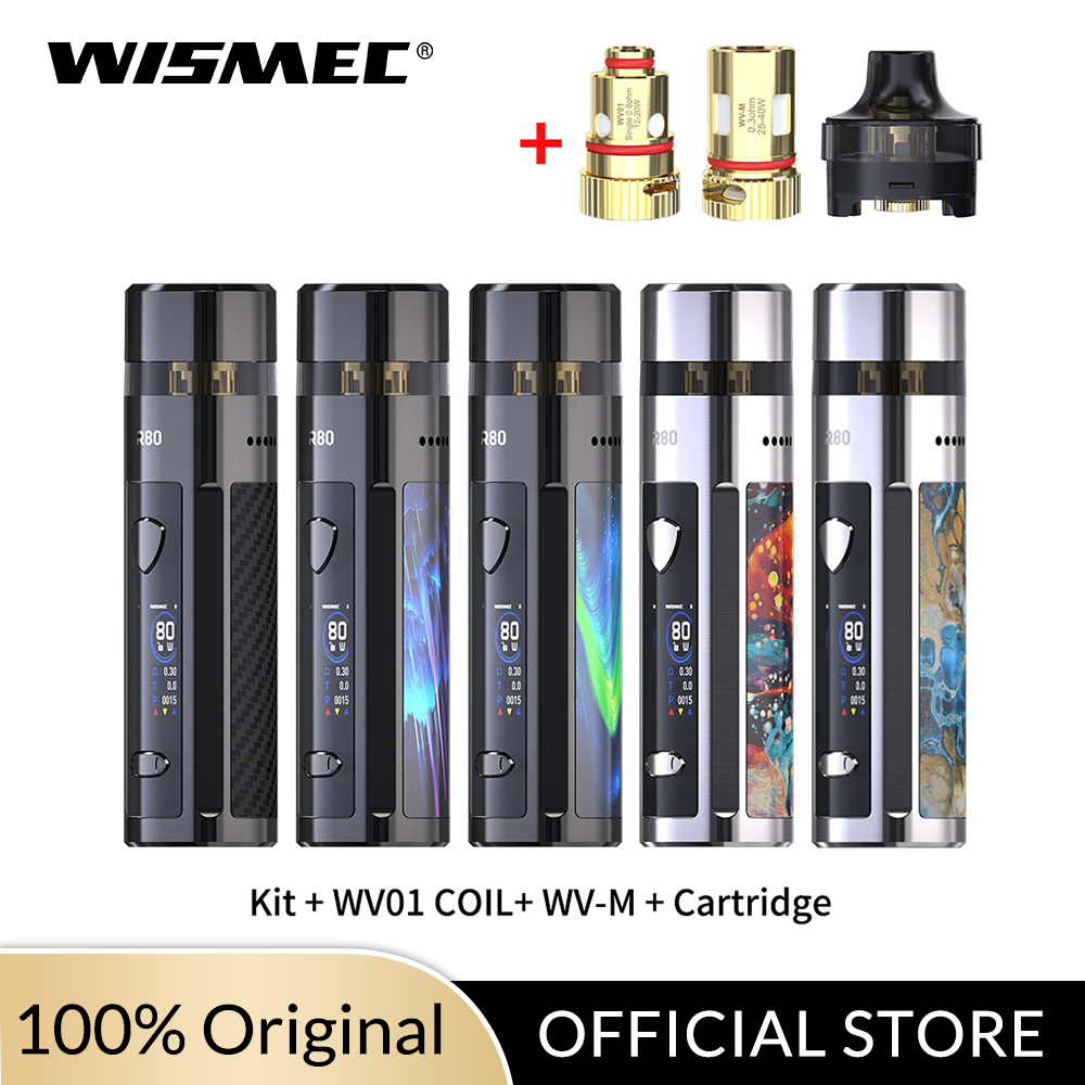 New Arrival Original 80W Wismec R80 Kit 4ml Cartridge With WV01 /WV-M Coil Head  No Single 18650 Battery Electronic Cigarette