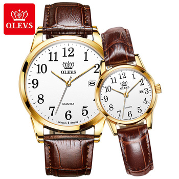 OLEVS Couple Watch Fashion Business Men Women Watches Top Brand Luxury Quartz Wristwatch Casual Leather Clock Relogio Masculions olevs women watches watch men fashion luxury rhinestone dress couple watch quartz watchreloj mujer saat relogio zegarek damski