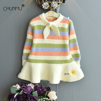 Children Clothing New Kids Knitted Dresses for Girls Autumn Winter Striped Rainbow Carrot Girl Princess Party Dress 1-6T Vestido