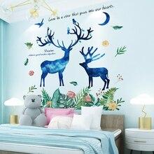 [shijuekongjian] Creative Deer Animal Wall Sticker DIY Green Leaves Wall Decals for Kids Rooms Baby Bedroom Home Decoration deer 3d wall sticker
