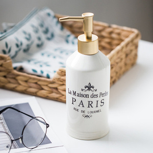 Image 4 - 420ml Nordic Ceramic Emulsion Empty Bottle Soap Dispenser Bathroom Liquid Soap Dish Hotel Club Hand Sanitizer Shower Gel Shampoo