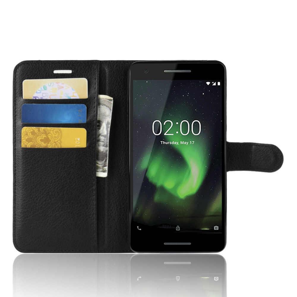 Phone Case untuk Nokia 1 2 2.1 Flip PU Kulit Kembali Cover Case untuk Nokia1 Nokia2 Nokia2.1 Dompet Smartphone Tas coque Funda Case