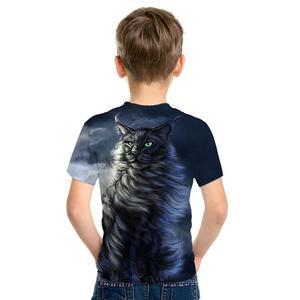 Image 2 - 3D impression mignon mode haut pour enfants à manches courtes T Shirt mignon dessin animé Panda homme/fille porter rue marée Style Top T Shirt dessin animé chat