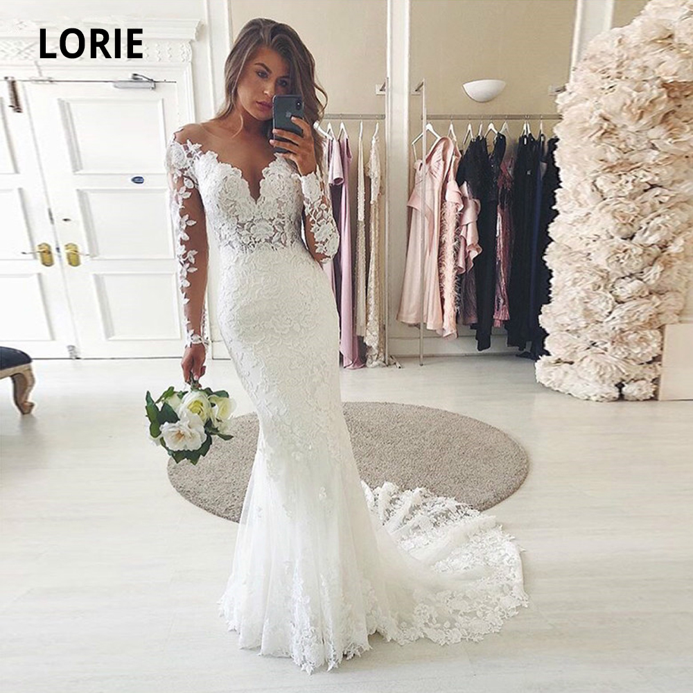 LORIE Long Sleeve Lace Ivory Wedding Dresses Mermaid Bridal Gowns Romantic Robe De Mariee Plus Size Sweep Train 2020 Spring New