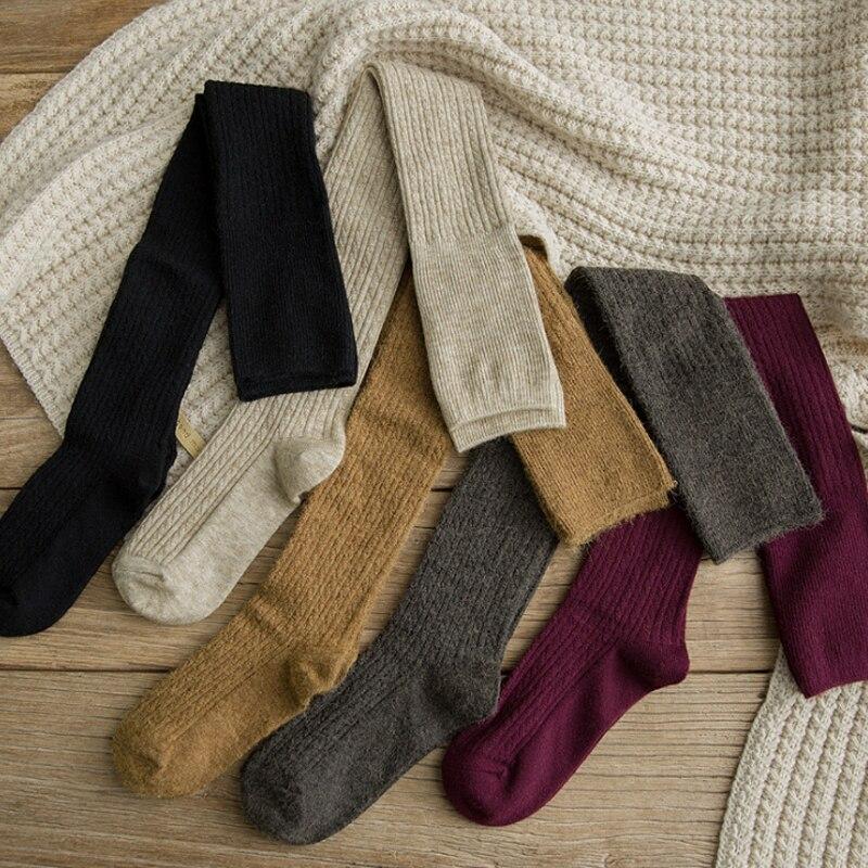 Новинка, женские носки, кашемировые женские сапоги, одноцветные шерстяные чулки, обтягивающие, повседневные, хлопковые, выше колена, пушист...