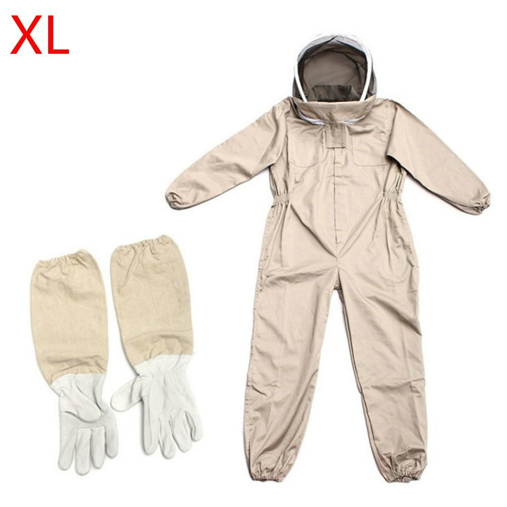 Professional Cotton Full Body Beekeeping Bee Keeping Suit W// Veil Hood XXL