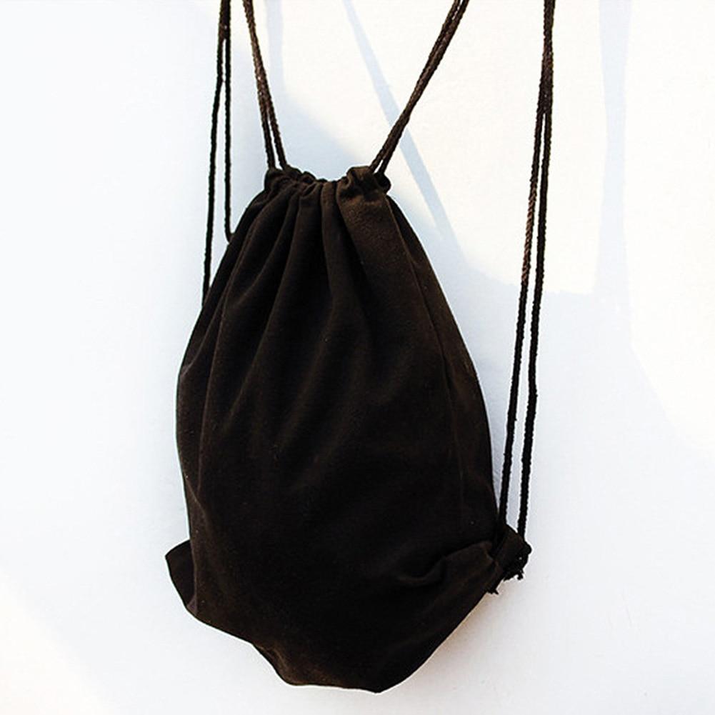 Drawstring Backpack Pure Color String Shoulder Bags Sack Bag Gym School Outdoor