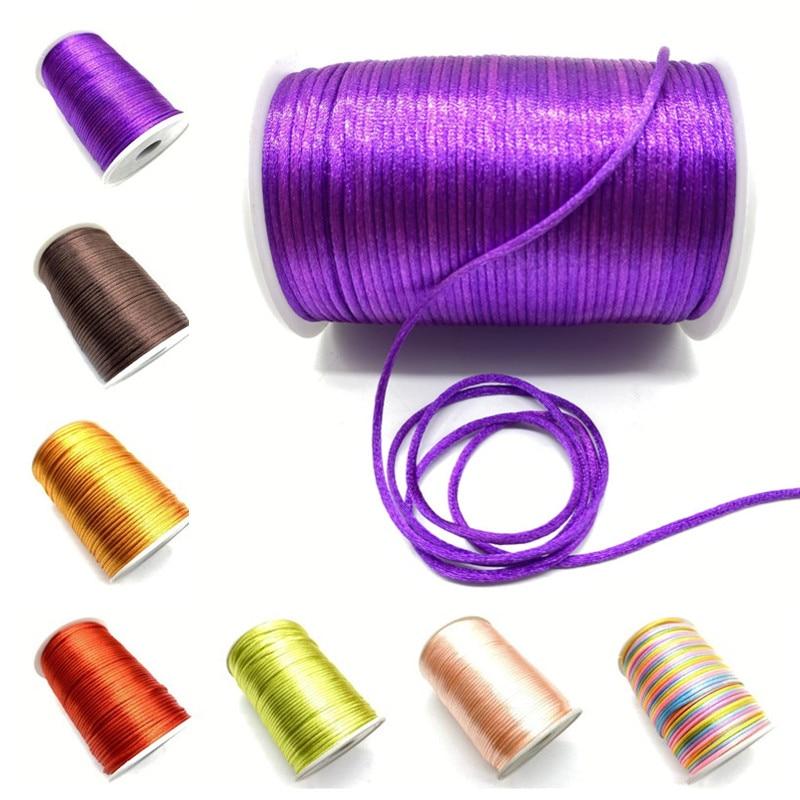 5 ярдов/лот 2 мм китайский узел шнур Rattail сатин с плетеными нитями ювелирных изделий бисер веревка для diy-декораций, ремесла