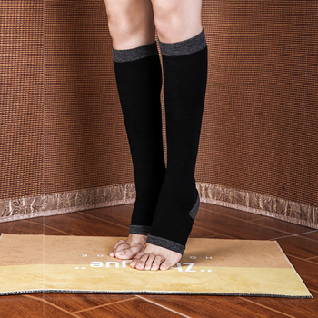 Women Open Toe Socks Calf-length Breathable Leg Sleeve Sports Socks Young Female Workout Athleisure Under Knee Stockings