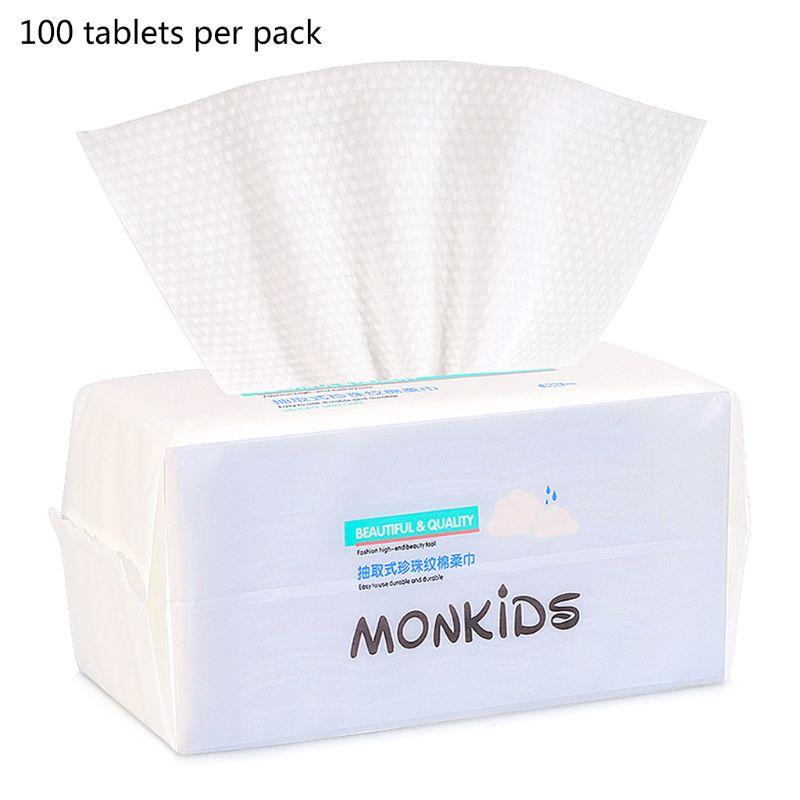 100pcs Cotton Disposable Face Towel Travel Cleansing Makeup Facial Tissue Thick