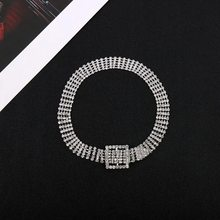 2019 luxury women's rhinestone choker Necklace female bright bride wide Sliver bling Shining diamond Crystal Collar Necklace(China)
