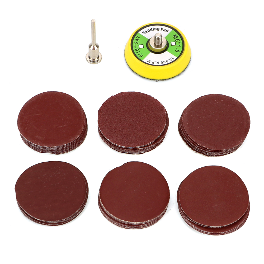 60pcs/set Cleaning Tools 100/240/600/800/1000/2000 Grits Sanding Disc Set Polishing Tools 2inch Sanding Pad For Woodworking