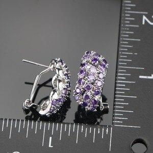 Image 4 - Conjunto de joyería nupcial de plata de circonia púrpura 925, pulseras, pendientes de las mujeres de piedras para COLLAR COLGANTE, anillos, caja de regalo