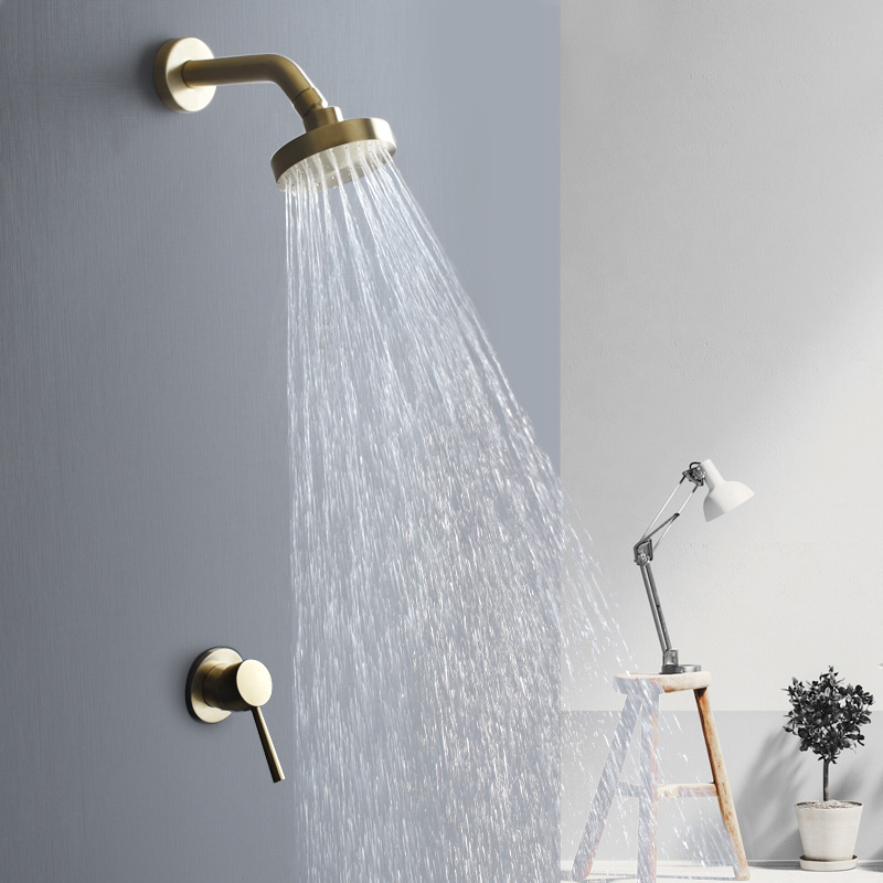 Brushed Gold Bathroom Fixture Waterfall Restroom Bath Shower Faucets Set Wall Mounted Brass Rain Shower Faucet Brushed Gold Bathroom Fixture Waterfall Restroom Bath Shower Faucets Set Wall Mounted Brass Rain Shower Faucet Mixer Set